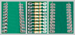 Axial resistors inserted, cut & clinched by the CS-400E Cut and Clinch Inserter into PCB
